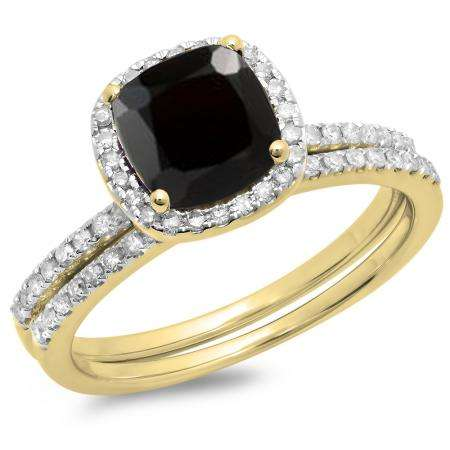 1.75 Carat (ctw) 14K Yellow Gold Cushion Cut Black Sapphire & Round Cut White Diamond Ladies Bridal Halo Engagement Ring With Matching Band Set 1 3/4 CT