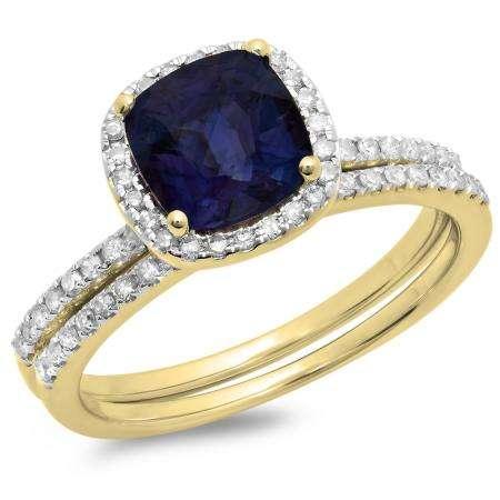 1.75 Carat (ctw) 14K Yellow Gold Cushion Cut Blue Sapphire & Round Cut White Diamond Ladies Bridal Halo Engagement Ring With Matching Band Set 1 3/4 CT