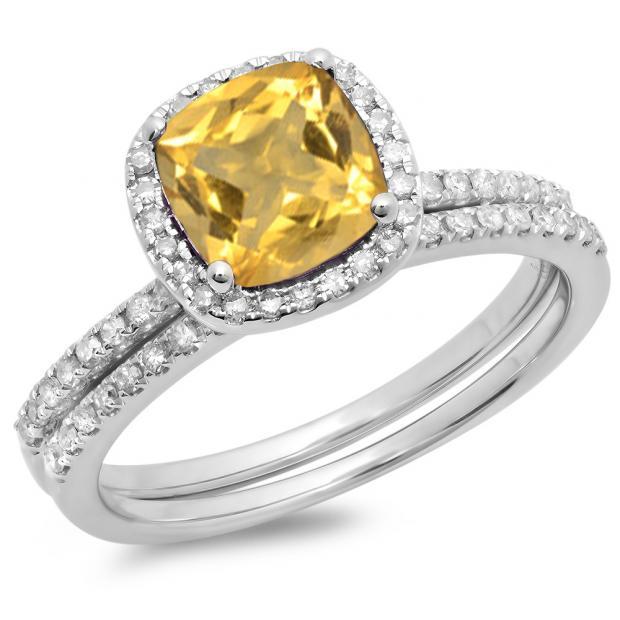 1.75 Carat (ctw) 10K White Gold Round Cut Citrine & White Diamond Ladies Bridal Halo Engagement Ring With Matching Band Set 1 3/4 CT