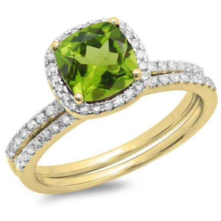 1.75 Carat (ctw) 14K Yellow Gold Cushion Cut Peridot & Round Cut White Diamond Ladies Bridal Halo Engagement Ring With Matching Band Set 1 3/4 CT