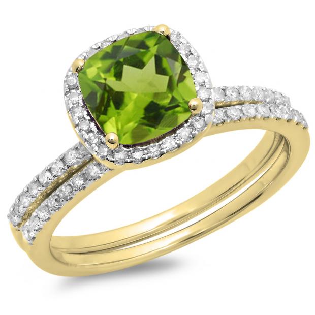 1.75 Carat (ctw) 18K Yellow Gold Cushion Cut Peridot & Round Cut White Diamond Ladies Bridal Halo Engagement Ring With Matching Band Set 1 3/4 CT