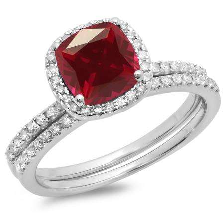 1.75 Carat (ctw) 18K White Gold Cushion Cut Ruby & Round Cut White Diamond Ladies Bridal Halo Engagement Ring With Matching Band Set 1 3/4 CT