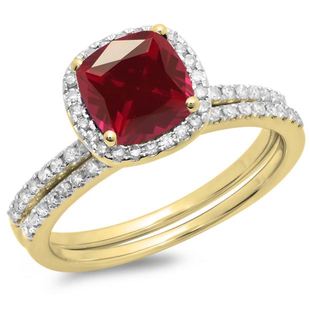 1.75 Carat (ctw) 18K Yellow Gold Cushion Cut Ruby & Round Cut White Diamond Ladies Bridal Halo Engagement Ring With Matching Band Set 1 3/4 CT