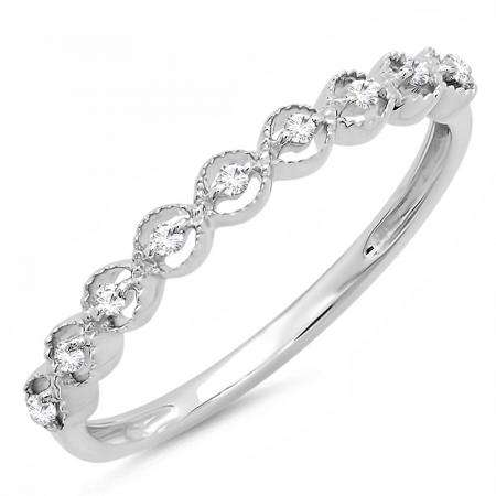 0.10 Carat (ctw) Sterling Silver Round White Diamond Ladies Wedding Stackable Band Ring 1/10 CT