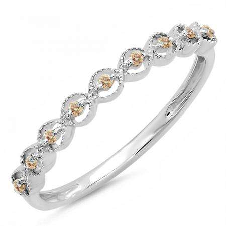 0.10 Carat (ctw) Sterling Silver Round Champagne Diamond Ladies Anniversary Wedding Stackable Band Ring 1/10 CT