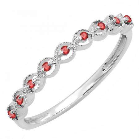 0.10 Carat (ctw) Sterling Silver Round Ruby Ladies Anniversary Wedding Stackable Band Ring 1/10 CT