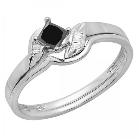0.50 Carat (ctw) 10K White Gold Princess & Baguette Cut Black & White Diamond Ladies Bridal Engagement Ring Matching Band Set 1/2 CT