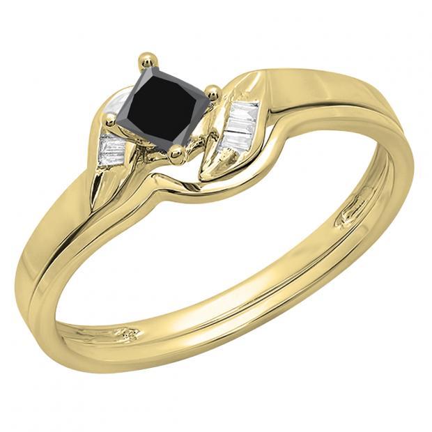 0.50 Carat (ctw) 18K Yellow Gold Princess & Baguette Cut Black & White Diamond Ladies Bridal Engagement Ring Matching Band Set 1/2 CT