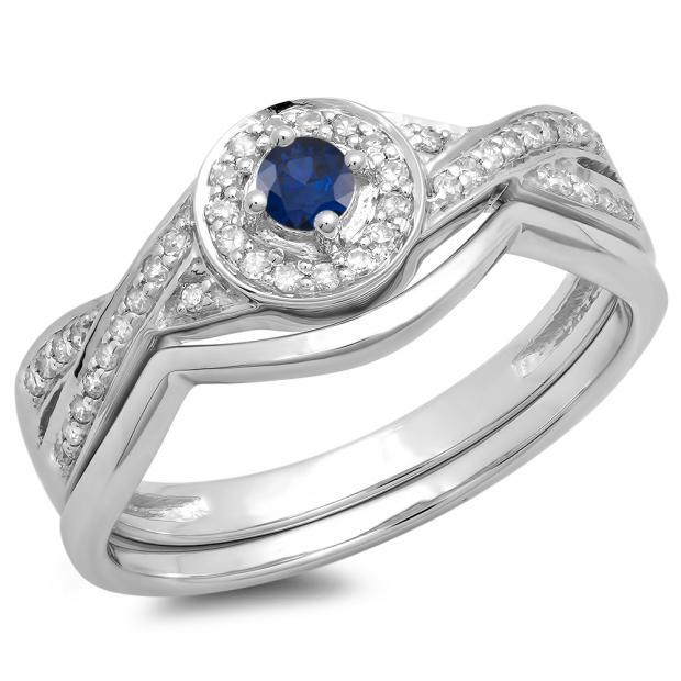 0.30 Carat (ctw) 10K White Gold Round Blue Sapphire & White Diamond Ladies Bridal Halo Split Shank Engagement Ring Set 1/3 CT