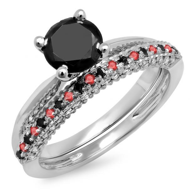 1.50 Carat (ctw) 10K White Gold Round Ruby & Black Diamond Ladies Bridal Solitaire Engagement Ring With Matching Wedding Band Set 1 1/2 CT