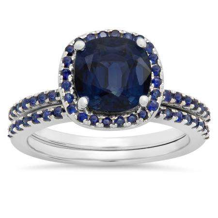 1.75 Carat (ctw) 10K White Gold Cushion & Round Cut Blue Sapphire Ladies Bridal Halo Engagement Ring With Matching Band Set 1 3/4 CT