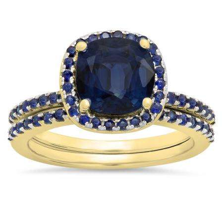 1.75 Carat (ctw) 18K Yellow Gold Cushion & Round Cut Blue Sapphire Ladies Bridal Halo Engagement Ring With Matching Band Set 1 3/4 CT