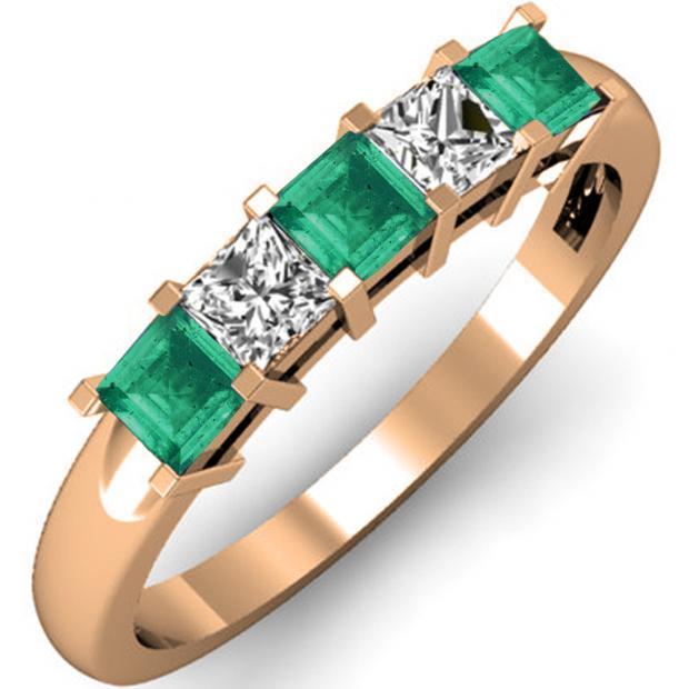 0.75 Carat (ctw) 18K Rose Gold Princess Cut Green Emerald and White Diamond Ladies 5 Stone Bridal Wedding Band Anniversary Ring 3/4 CT