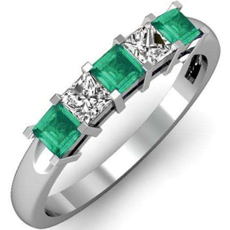 0.75 Carat (ctw) 18K White Gold Princess Cut Green Emerald and White Diamond Ladies 5 Stone Bridal Wedding Band Anniversary Ring 3/4 CT