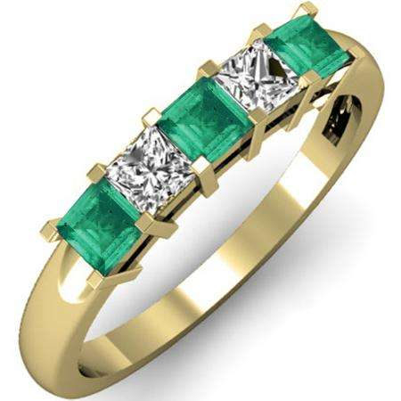 0.75 Carat (ctw) 18K Yellow Gold Princess Cut Green Emerald and White Diamond Ladies 5 Stone Bridal Wedding Band Anniversary Ring 3/4 CT