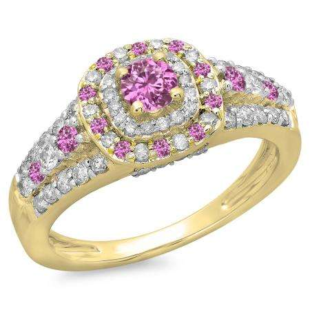 1.00 Carat (ctw) 18K Yellow Gold Round Cut Pink Sapphire & White Diamond Ladies Vintage Style Bridal Halo Engagement Ring 1 CT
