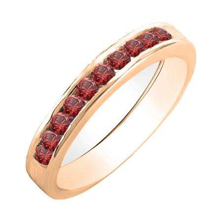 0.70 Carat (ctw) 10K Rose Gold Princess & Round Cut Ruby Ladies Bridal Solitaire With Accents Engagement Ring 3/4 CT