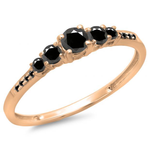 0.40 Carat (Ctw) 18K Rose Gold Round Cut Black Diamond Ladies Bridal 5 Stone Engagement Ring