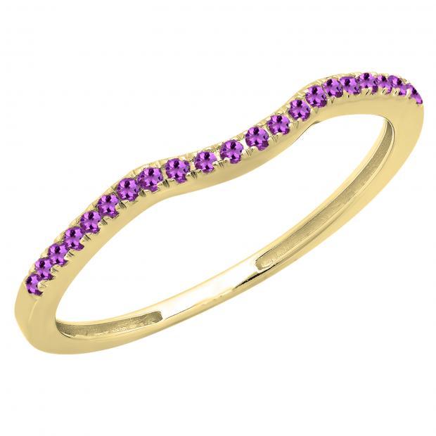 0.15 Carat (ctw) 10K Yellow Gold Round Amethyst Ladies Bridal Anniversary Ring Wedding Guard Band