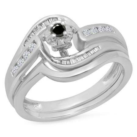 0.30 Carat (ctw) 14K White Gold Round & Baguette Cut Black & White Diamond Ladies Bypass Twisted Style Bridal Engagement Ring With Matching Band Set 1/3 CT