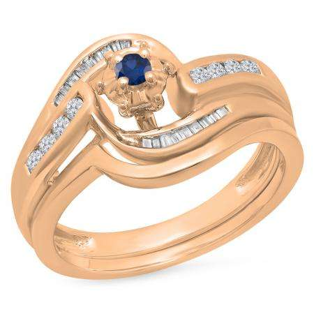 0.30 Carat (ctw) 14K Rose Gold Round & Baguette Cut Blue Sapphire & White Diamond Ladies Bypass Twisted Style Bridal Engagement Ring With Matching Band Set 1/3 CT