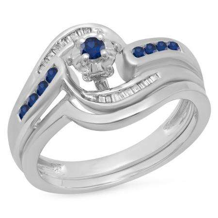 0.30 Carat (ctw) 10K White Gold Round & Baguette Cut Blue Sapphire & White Diamond Ladies Bypass Twisted Style Bridal Engagement Ring With Matching Band Set 1/3 CT