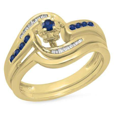 0.30 Carat (ctw) 14K Yellow Gold Round & Baguette Cut Blue Sapphire & White Diamond Ladies Bypass Twisted Style Bridal Engagement Ring With Matching Band Set 1/3 CT