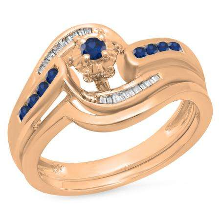 0.30 Carat (ctw) 18K Rose Gold Round & Baguette Cut Blue Sapphire & White Diamond Ladies Bypass Twisted Style Bridal Engagement Ring With Matching Band Set 1/3 CT