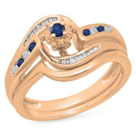 0.30 Carat (ctw) 10K Rose Gold Round & Baguette Cut Blue Sapphire & White Diamond Ladies Bypass Twisted Style Bridal Engagement Ring With Matching Band Set 1/3 CT