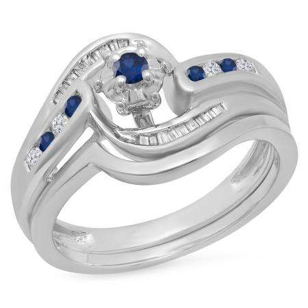 0.30 Carat (ctw) 14K White Gold Round & Baguette Cut Blue Sapphire & White Diamond Ladies Bypass Twisted Style Bridal Engagement Ring With Matching Band Set 1/3 CT