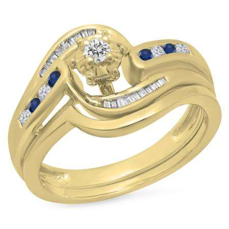 0.30 Carat (ctw) 10K Yellow Gold Round & Baguette Cut Blue Sapphire & White Diamond Ladies Bypass Twisted Style Bridal Engagement Ring With Matching Band Set 1/3 CT