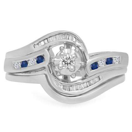 0.30 Carat (ctw) 18K White Gold Round & Baguette Cut Blue Sapphire & White Diamond Ladies Bypass Twisted Style Bridal Engagement Ring With Matching Band Set 1/3 CT