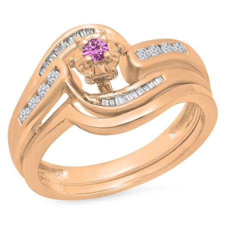 0.30 Carat (ctw) 18K Rose Gold Round & Baguette Cut Pink Sapphire & White Diamond Ladies Bypass Twisted Style Bridal Engagement Ring With Matching Band Set 1/3 CT