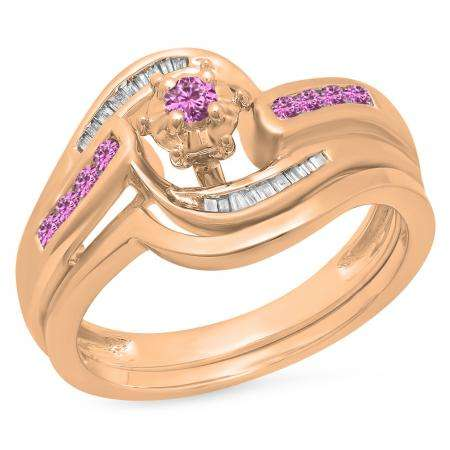 0.30 Carat (ctw) 14K Rose Gold Round & Baguette Cut Pink Sapphire & White Diamond Ladies Bypass Twisted Style Bridal Engagement Ring With Matching Band Set 1/3 CT
