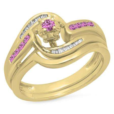 0.30 Carat (ctw) 14K Yellow Gold Round & Baguette Cut Pink Sapphire & White Diamond Ladies Bypass Twisted Style Bridal Engagement Ring With Matching Band Set 1/3 CT