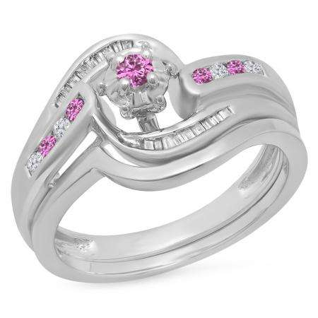 0.30 Carat (ctw) 14K White Gold Round & Baguette Cut Pink Sapphire & White Diamond Ladies Bypass Twisted Style Bridal Engagement Ring With Matching Band Set 1/3 CT