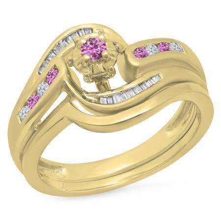 0.30 Carat (ctw) 18K Yellow Gold Round & Baguette Cut Pink Sapphire & White Diamond Ladies Bypass Twisted Style Bridal Engagement Ring With Matching Band Set 1/3 CT