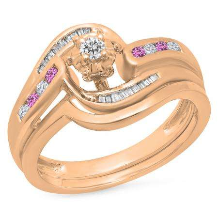 0.30 Carat (ctw) 10K Rose Gold Round & Baguette Cut Pink Sapphire & White Diamond Ladies Bypass Twisted Style Bridal Engagement Ring With Matching Band Set 1/3 CT