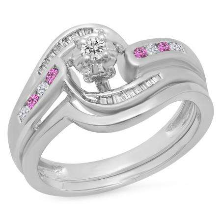 0.30 Carat (ctw) 18K White Gold Round & Baguette Cut Pink Sapphire & White Diamond Ladies Bypass Twisted Style Bridal Engagement Ring With Matching Band Set 1/3 CT