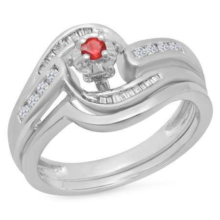 0.30 Carat (ctw) 14K White Gold Round & Baguette Cut Ruby & White Diamond Ladies Bypass Twisted Style Bridal Engagement Ring With Matching Band Set 1/3 CT