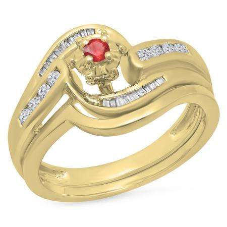 0.30 Carat (ctw) 18K Yellow Gold Round & Baguette Cut Ruby & White Diamond Ladies Bypass Twisted Style Bridal Engagement Ring With Matching Band Set 1/3 CT
