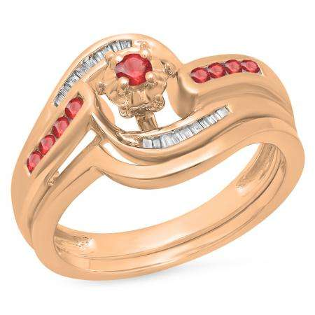 0.30 Carat (ctw) 10K Rose Gold Round & Baguette Cut Ruby & White Diamond Ladies Bypass Twisted Style Bridal Engagement Ring With Matching Band Set 1/3 CT