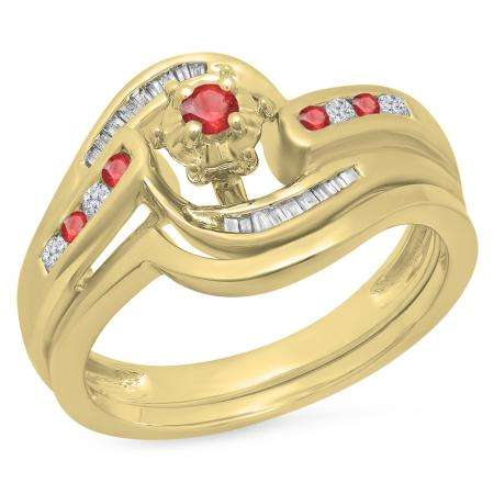 0.30 Carat (ctw) 14K Yellow Gold Round & Baguette Cut Ruby & White Diamond Ladies Bypass Twisted Style Bridal Engagement Ring With Matching Band Set 1/3 CT