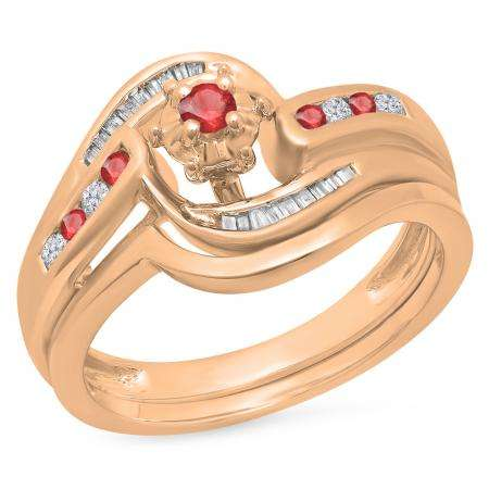 0.30 Carat (ctw) 18K Rose Gold Round & Baguette Cut Ruby & White Diamond Ladies Bypass Twisted Style Bridal Engagement Ring With Matching Band Set 1/3 CT