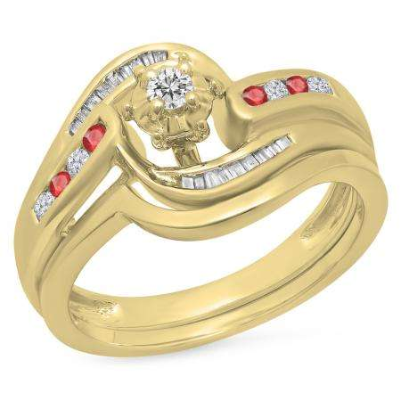 0.30 Carat (ctw) 10K Yellow Gold Round & Baguette Cut Ruby & White Diamond Ladies Bypass Twisted Style Bridal Engagement Ring With Matching Band Set 1/3 CT