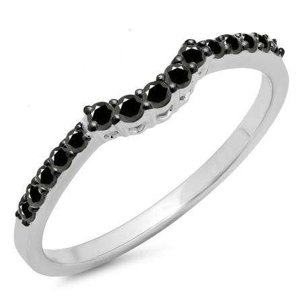 0.30 Carat (ctw) 10K White Gold Round Black Diamond Ladies Contour Anniversary Wedding Stackable Band Guard Ring 1/3 CT