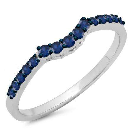0.30 Carat (ctw) 10K White Gold Round Blue Sapphire Ladies Contour Anniversary Wedding Stackable Band Guard Ring 1/3 CT