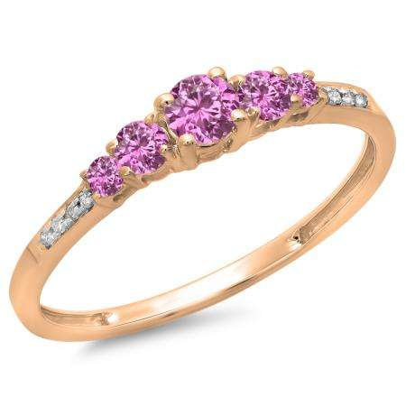 0.40 Carat (ctw) 10K Rose Gold Round Cut Pink Sapphire & White Diamond Ladies Bridal 5 Stone Engagement Ring