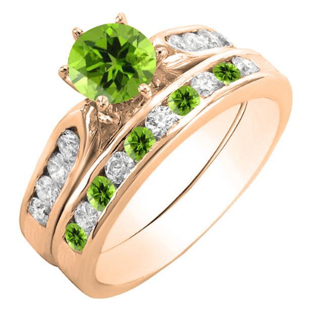 1.00 Carat (ctw) 10K Rose Gold Round Peridot & White Diamond Ladies Bridal Engagement Ring Set With Matching Band 1 CT
