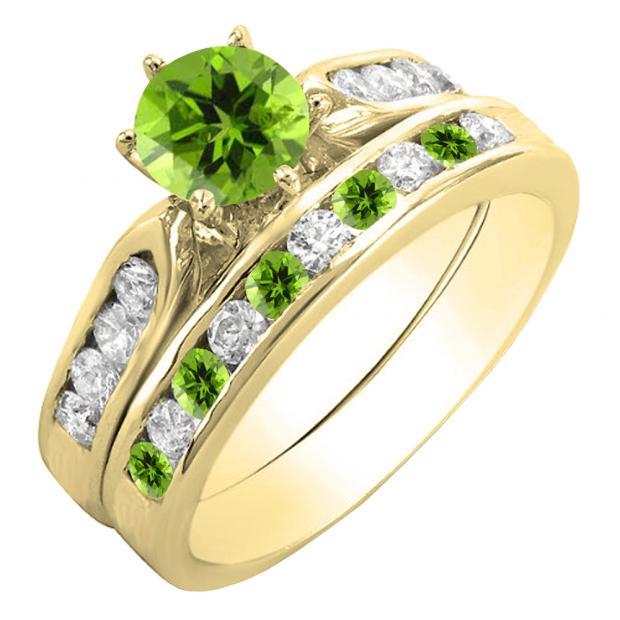 1.00 Carat (ctw) 10K Yellow Gold Round Peridot & White Diamond Ladies Bridal Engagement Ring Set With Matching Band 1 CT